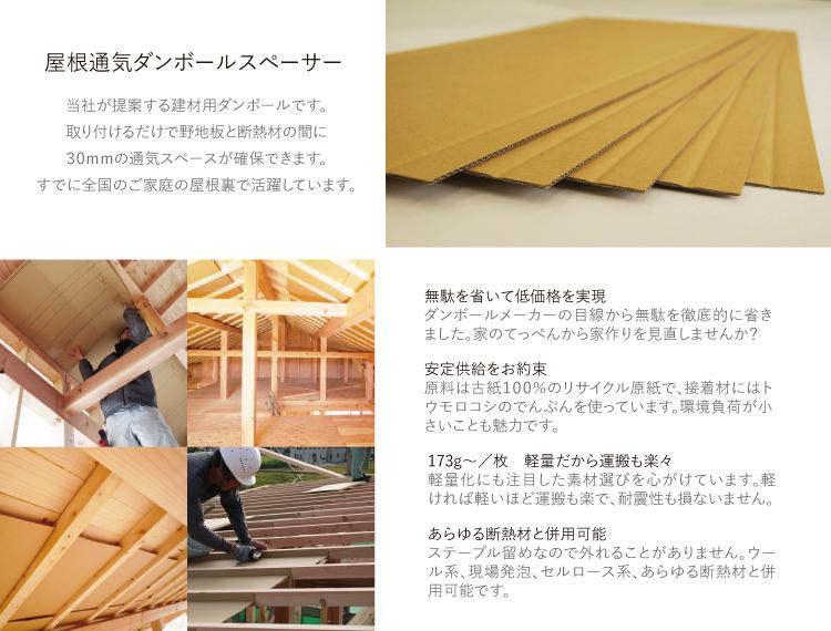 屋根通気ダンボールスペーサーとは?協和ダンボールが提案する建材用ダンボールです。取り付ければ野地板と断熱材の間に通気スペースが確保できます。切妻でも片流でも大丈夫  無駄を省いて低価格を実現しました ダンボールメーカーの目線から無駄を徹底的に省いています。家作りをてっぺんから見直しませんか?  軽量だから運搬も楽々 軽量化にも注目した素材選びを心がけています。軽ければ運搬も楽で、耐震性も損ないません。   安心安全の岐阜県産 古紙100%のリサイクル原紙、接着剤はトウモロコシでんぷんを使っています。環境負荷が小さいことも魅力です。   タッカー留めだからあらゆる断熱材と併用可能 タッカー留めなので外れることがなく、ウール系、現場発泡、セルロース系、あらゆる断熱材と併用可能です。