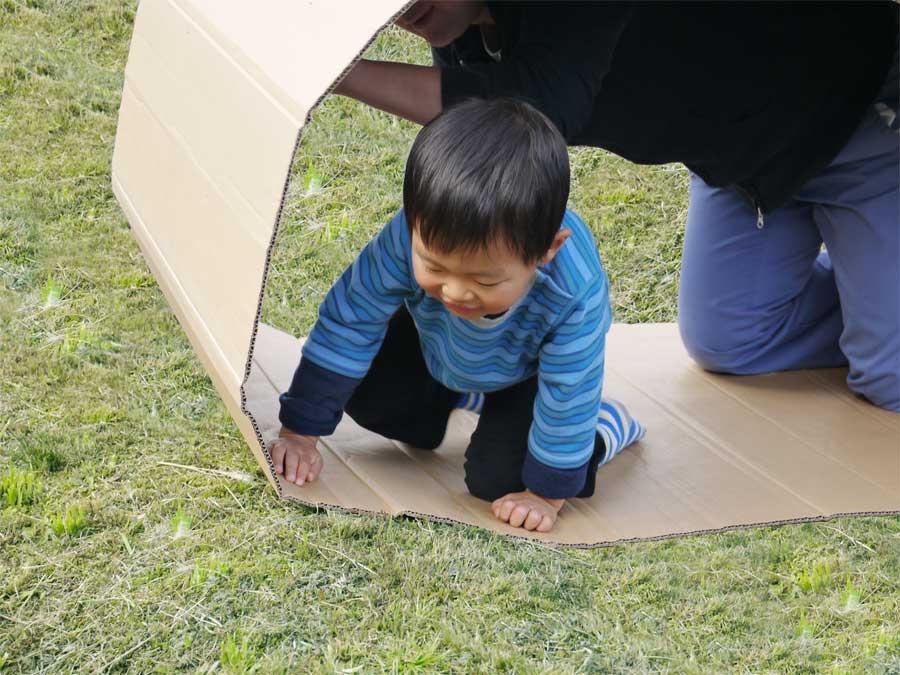 草原の上でダンボールクローラーで遊ぶ幼児